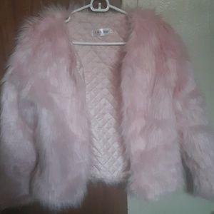 Blush pink faux fur coat